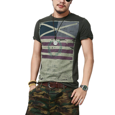 Summer Short Sleeve brand fashion round neck T shirt men