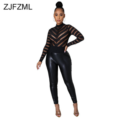 Sexy Black Round Neck Long Sleeve Tops Spring Summer Mesh Perspective Spliced Slim Bodysuit Womens