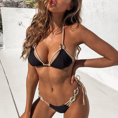 Sexy Crystal Diamond Tassel Bikini Golden Bandeau Swimwear Ribbed Bikini set Halter Bathing Suit