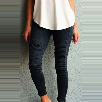 Stretch High Waist Skinny Slim Worn Feet Vintage Black Blue Pencil Pants Jeans Plus Size 5XL