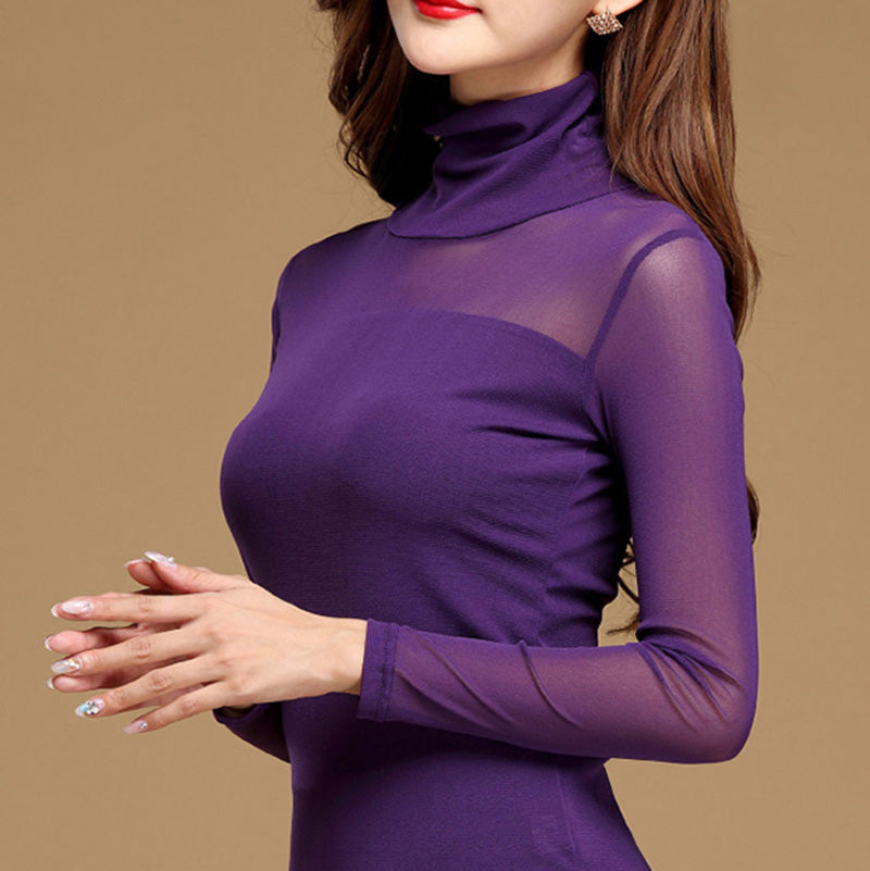 Casual Long Sleeve Lace Blouse Under Shirts Hollow Tops For Woman Plus Size 8729b98a8e78