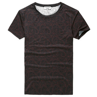 Summer vintage short sleeve o-neck printed floral cotton t-shirts men