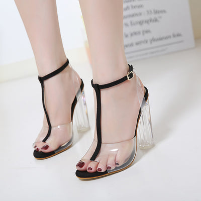d8dff9e90e26 Gladiator sandals pumps high heels Clear Transparent T-strap thick Crystal  shoes
