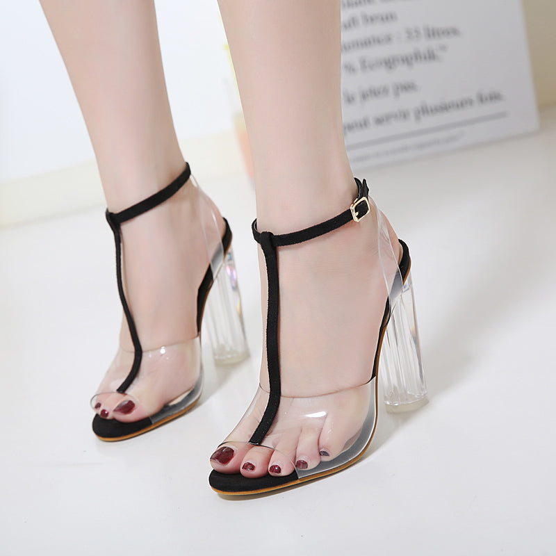 fb78944f211 Gladiator sandals pumps high heels Clear Transparent T-strap thick Crystal  shoes