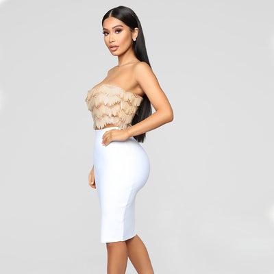 NewAsia Garden Gold Sequin Crop Top Sexy Tube Mesh Fringe Cropped Sequin top