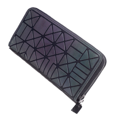 Long Clutch Luminous Wallet Geometric Lattice Standard Zipper Purse Wallet