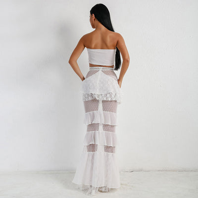 Sexy Bra Off Shoulder Backless Two Pcs Set Corn Lace Ruffles Elegant Party Dress