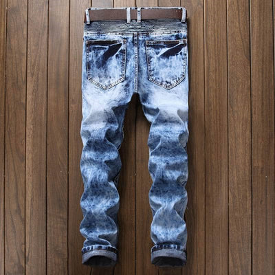 Newsosoo Pleated Biker Slim Fit Designer Denim Trousers Straight Washed Multi Zipper