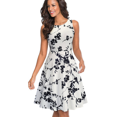 Nice-forever Elegant Embroidery Floral Lace Patchwork A-Line Pinup Flare Swing Dress