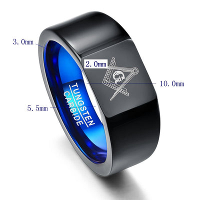 Nuncad Tungsten Carbide Rings Vacuum Plating Black with Blue Rings Laser Masonic Sign Ring