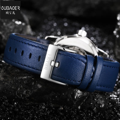 OUBAOER  Men Brand Luxury Automatic Mechanical Watch Leather Military Watches