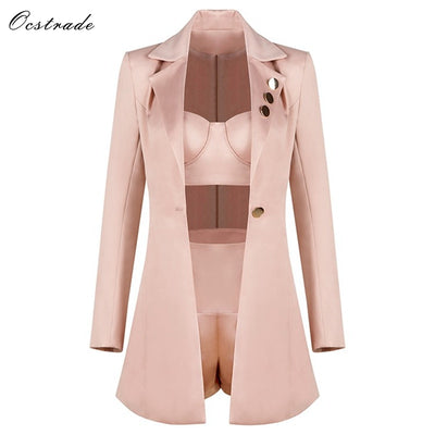 Ocstrade  Runway Champagne 3 Pieces Outfits Crop top&High Waist Shorts&Long Sleeve Jacket