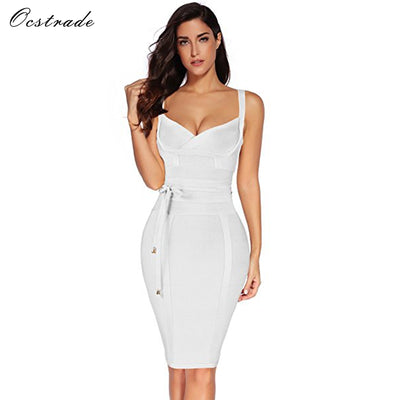 Ocstrade Bandage Rayon Sleeveless Deep v Neck Dress Club Party