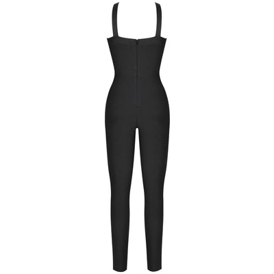 Ocstrade Cut Out Black Bandage Bodycon Sexy Club Party Jumpsuit