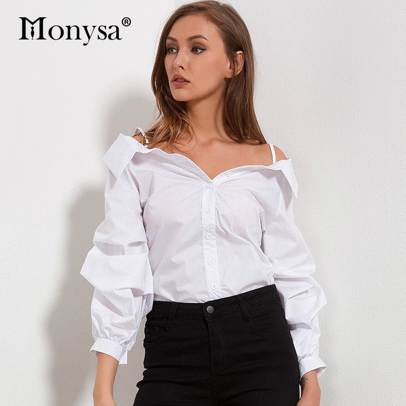ad79ff8e572dd Off Shoulder Autumn White Lantern Sleeve Blouse - Live a Classic Styles