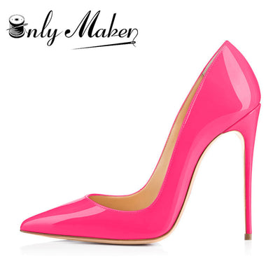 Onlymaker Thin High Heel Stilettos Pointed Toe Patent Leather Shoes 4.7 inch Pumps