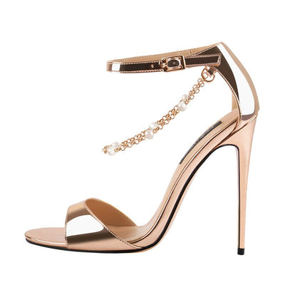 Onlymaker gold color Beaded Chain Ankle Strappy Stilettos 12cm High Heel Open Toe Single Band Pearl Sandals Shoes