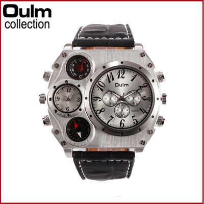 Oulm 1349 Sports military with Compass & Thermometer leather strap quartz wristwatch