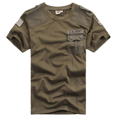 US Navy Military Army Badge Quick Dry Black Khaki Green Crew neck Shirt