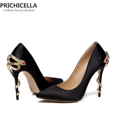 PRICHICELLA Satin Gold mental snake heel genuine leather pointed toe high heeled pumps