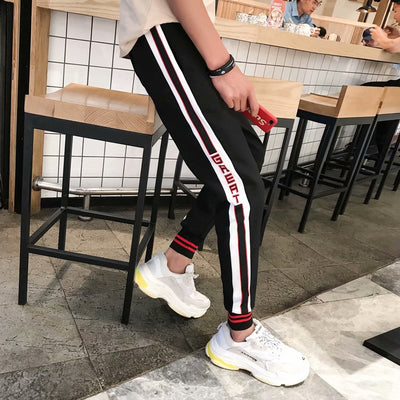 PUNEMY Side Stripe Letter Printing Hop Lace Up Joggers Pants Loose Sweatpants