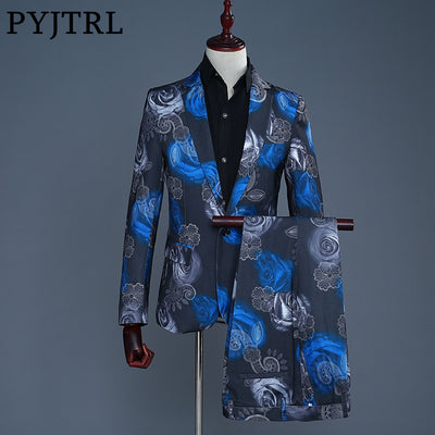 PYJTRL Tide Blue Red Rose Floral Print Casual Modern Suits Tuxedo