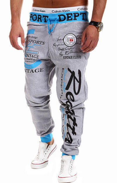 Casual Joggers Letter Printing Compression Cotton Trousers Sweatpants