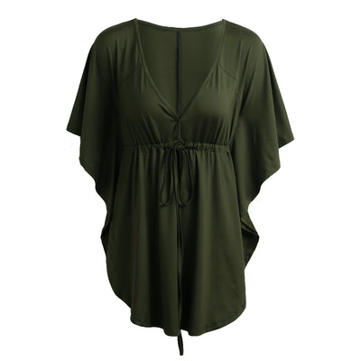Casual Solid Sexy V-Neck Batwing Sleeve Vintage Plus Size Blouse