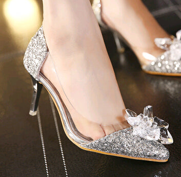 Cinderella Low Heels Thin Heel Rhinestone Butterfly Crystal Dress Shoes
