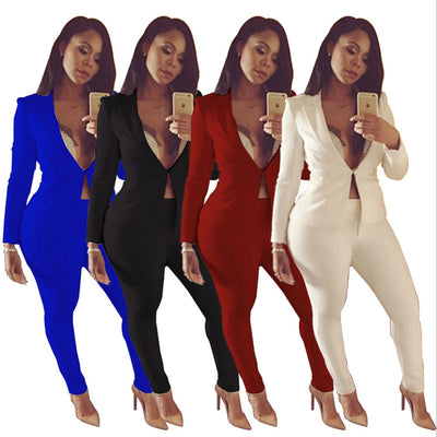 Sexy two piece jumpsuit rompers long legging pants outfit white blue Plus Size