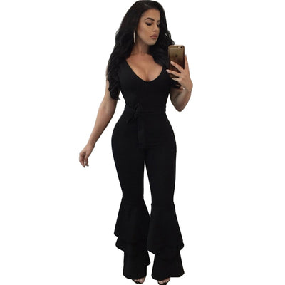 Sleeveless sexy v neck jumpsuit long pant flare trousers bodycon bandage romper