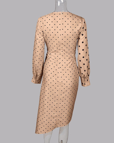 Polka Dot Spliced Wrap Sexy V Neck Long Sleeve Casual Midi Elegant Work Dresses