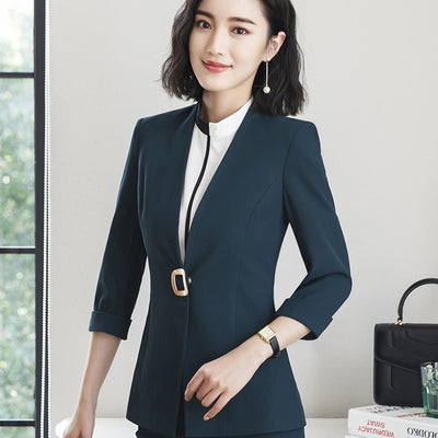 Professional fashion temperament half sleeve slim jacket plus size