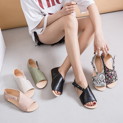 Leather Ankle Buckle Gladiator Roma Open Toe Low Heel Casual Sandals