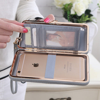 Purse bow wallet famous brand card holders cellphone pocket PU leather money bag