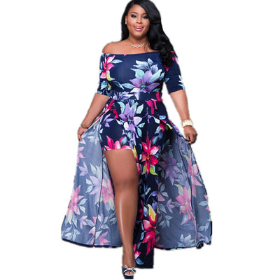 Puseky Sexy Floral Short Sleeve Cloth High Split Party Club Dress Plus Size