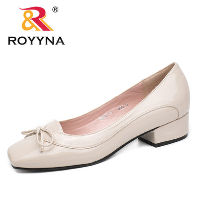 ROYYNA Pumps Butterfly-Knot Dress Square Toe Shallow Lady Shoes