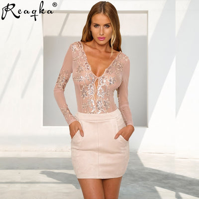 Reaqka Sexy Elegant Romper Mesh Long Sleeve Overalls Sequined Jumpsuit