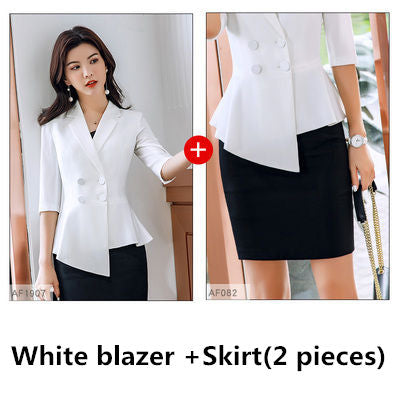 Red Skirt suit 2 Pieces Set fashion business suit office ladies work wear uniform Interview thin blazer hlaf sleeve top