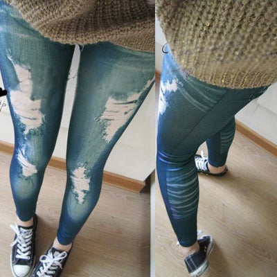 Retro Denim Skinny Slim Distressed Stretchy Leggings Jegging Jeans