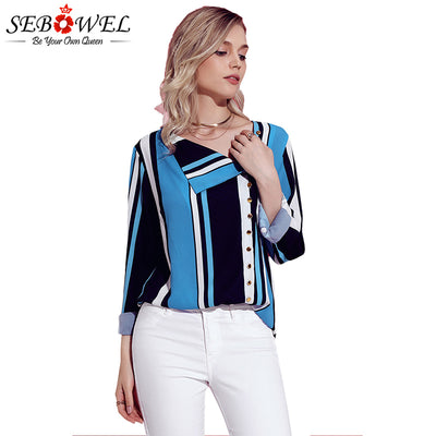 SEBOWEL Blue White Black Striped Button Down Tops & Blouses Summer Blouse Shirts