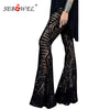 SEBOWEL Black Silver Sequin Glitter Flare Sequin Trousers for High Waist Bell Bottom Long Pants