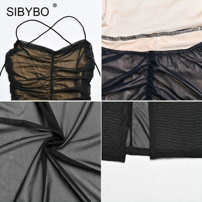 SIBYBO Back Cross Bandage Mesh Sexy Maxi Sleeveless Split Long Backless Dress