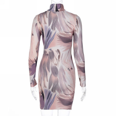 Styles Women Fashion INS Styles Colorful Long Sleeve Mini Dress