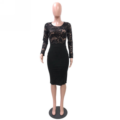 Women Sexy Lace Hollow Long Sleeve Round Neck Solid Color Mini Dress