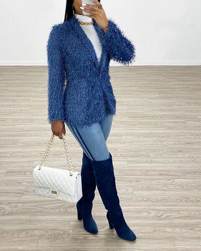 Women Fashion Blue Tassel Long SLeeve Blaze Tops SKU: #CF27051-1