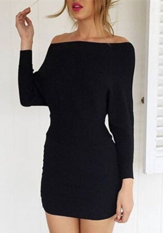 Fashionable Brief Long Sleeve Black Slash neck Plain Street Dresses SKU: #LM27515