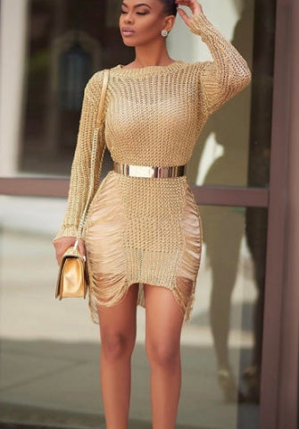 (Not Tie)Women Knitted Round Neck Long Sleeve Hollow Irregular Bodycon Beach Mini Dress SKU: #OEM1082-1