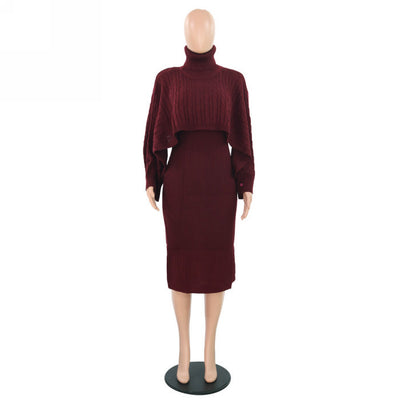 Women Fashion Solid Color High Neck Classic Dress SKU: #OEM3362