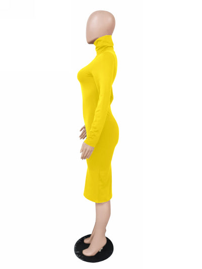 Fashion INS Styles Fashion Solid Color Long Sleeve Midi Dress SKU: #OEM4223